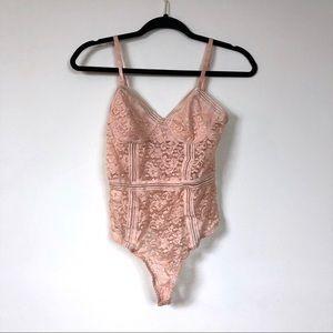 Honey punch pink sheer lace bodysuit